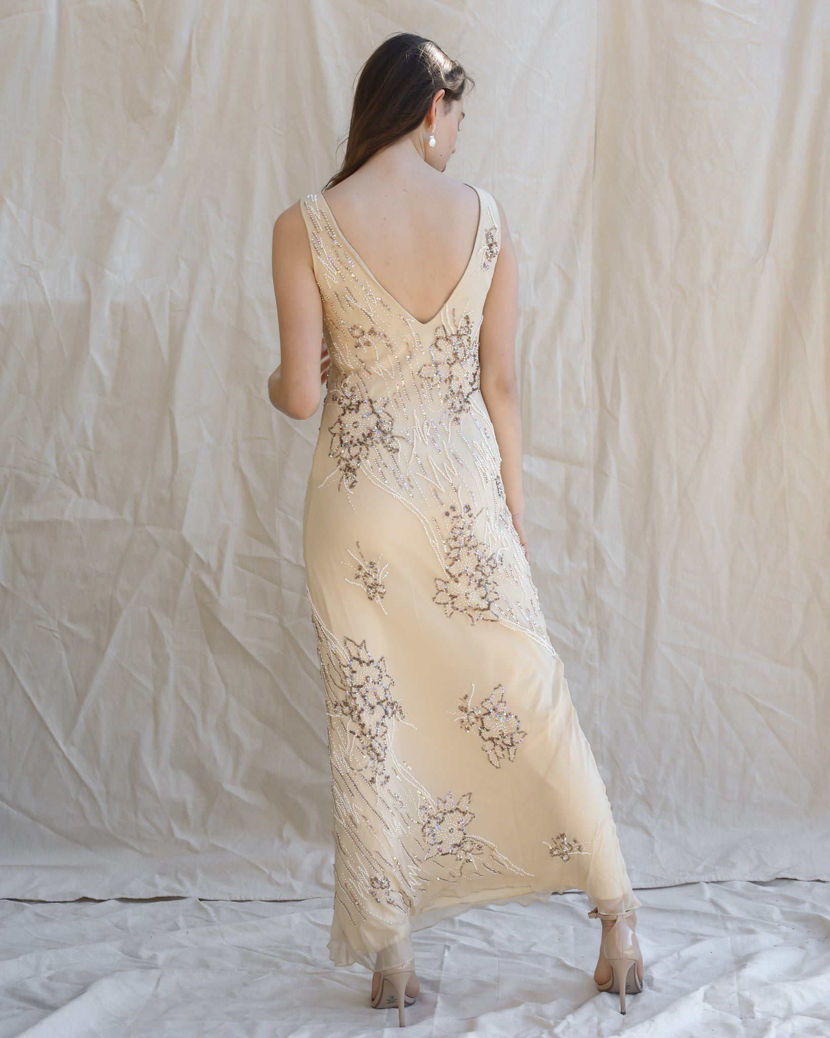 Cream Beaded Dress