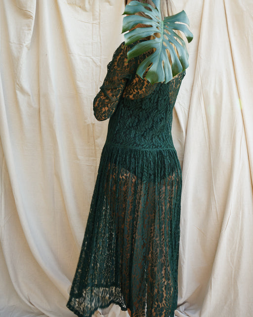 1980's Green Lace Dress (XS-Medium)