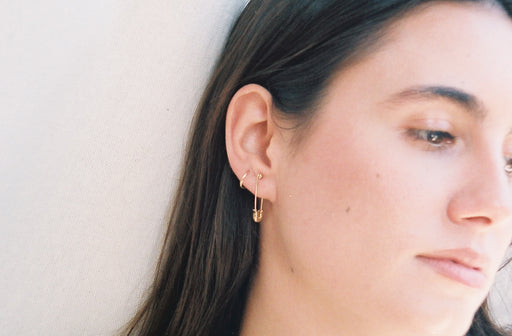 Solid Gold Safety Pin Earring