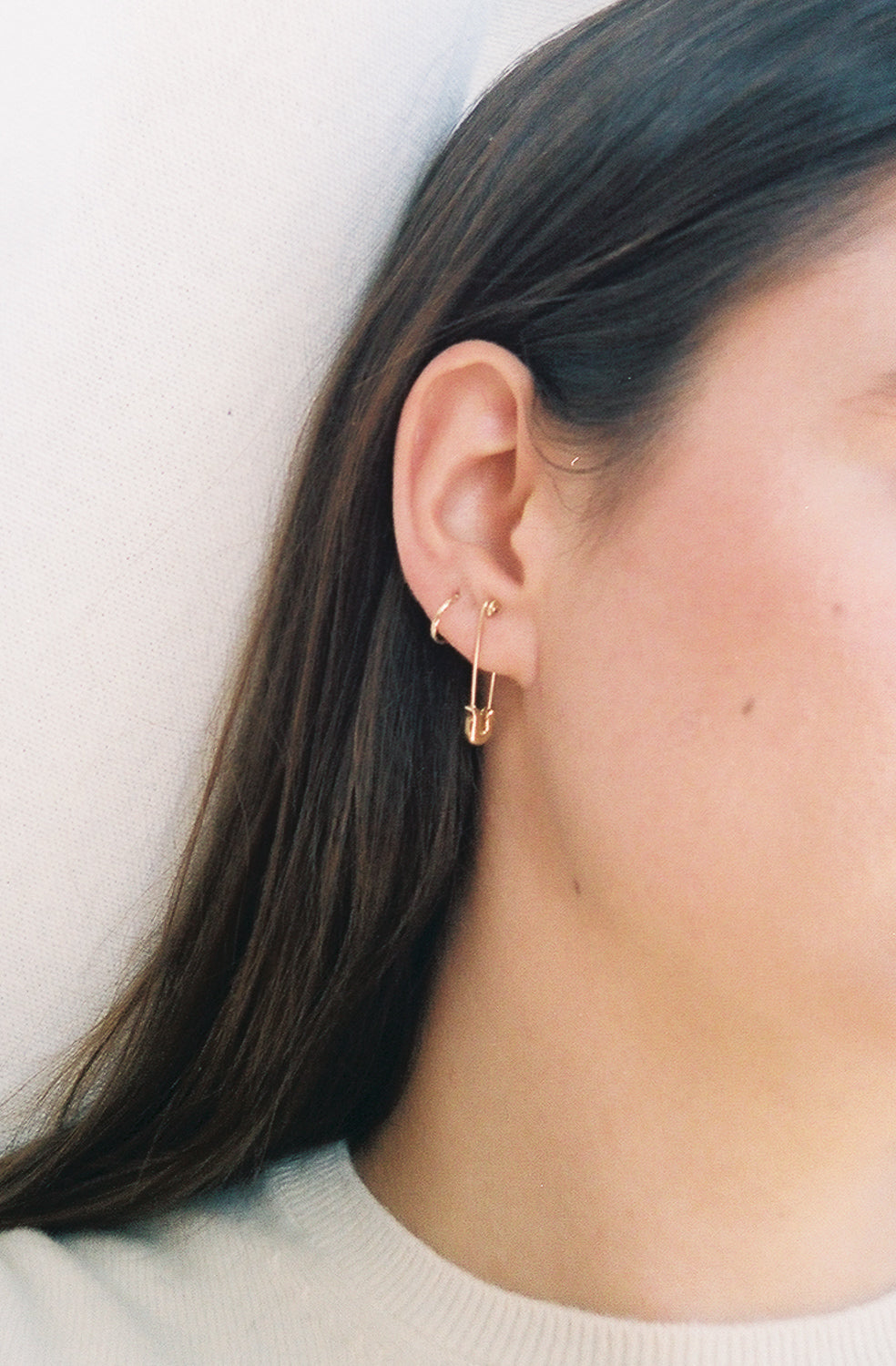Gold Safety Pin Earring 20k Solid Gold