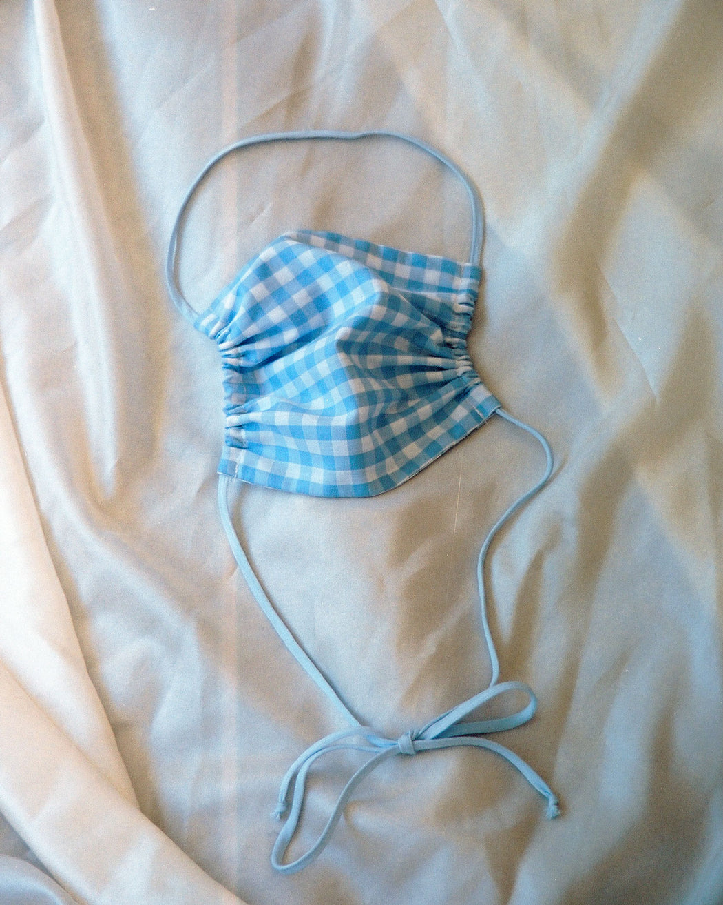 Blue Gingham Cotton Face Covering