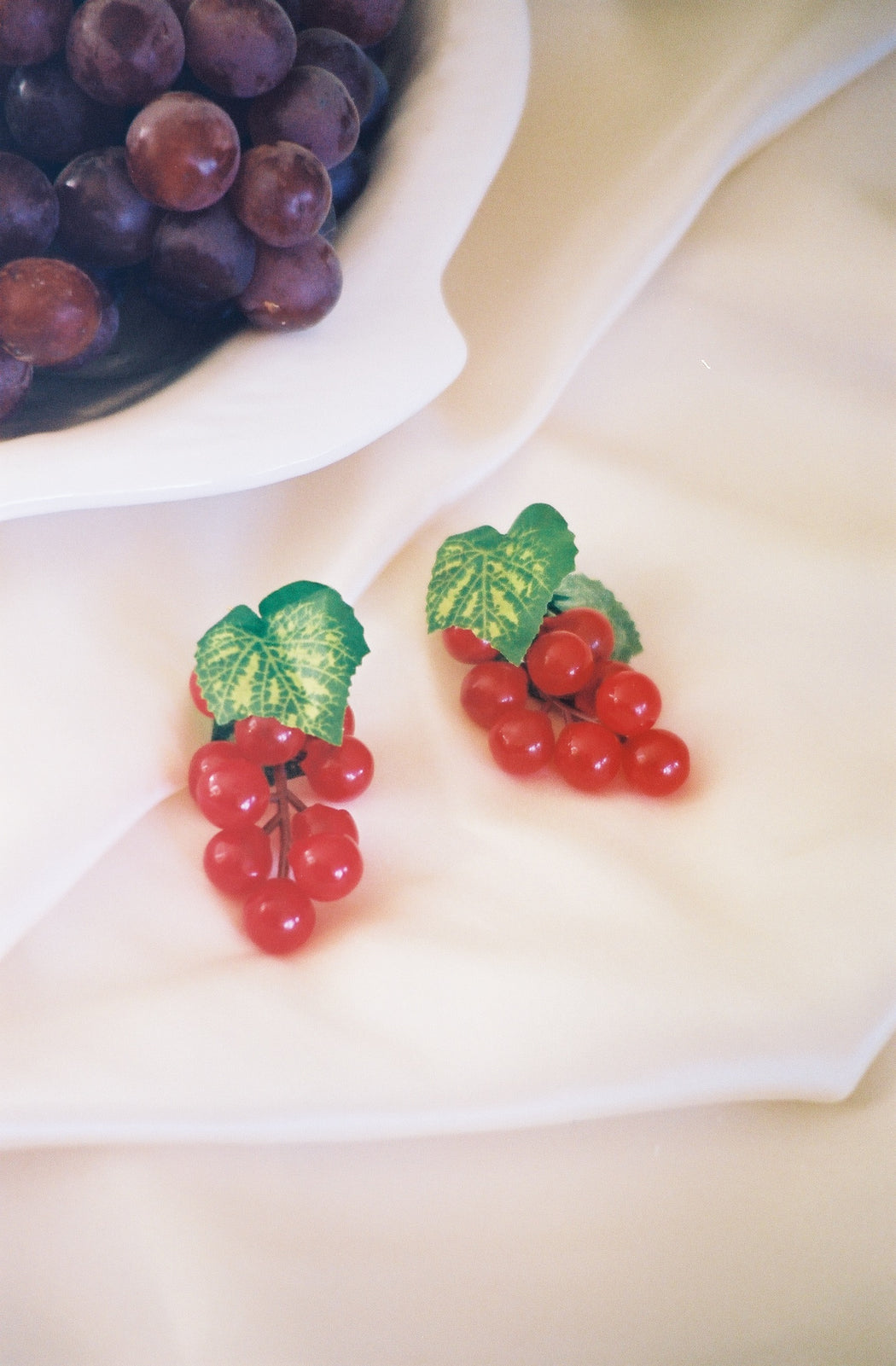 Red Grape Earrings Gold Plated