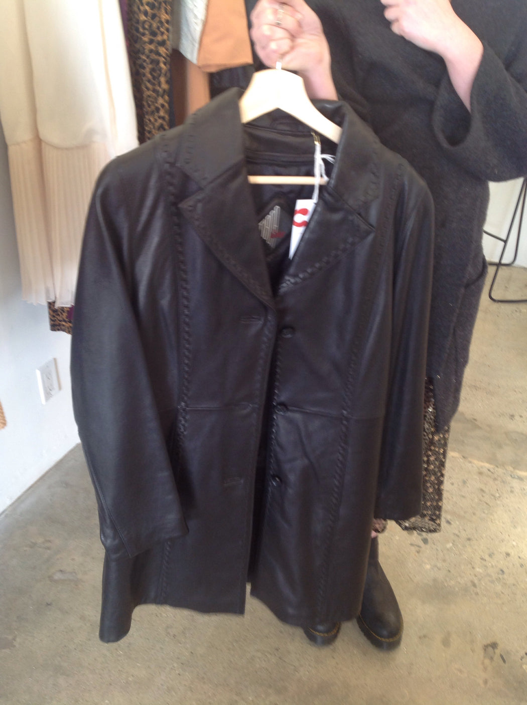 Vintage long leather black trench