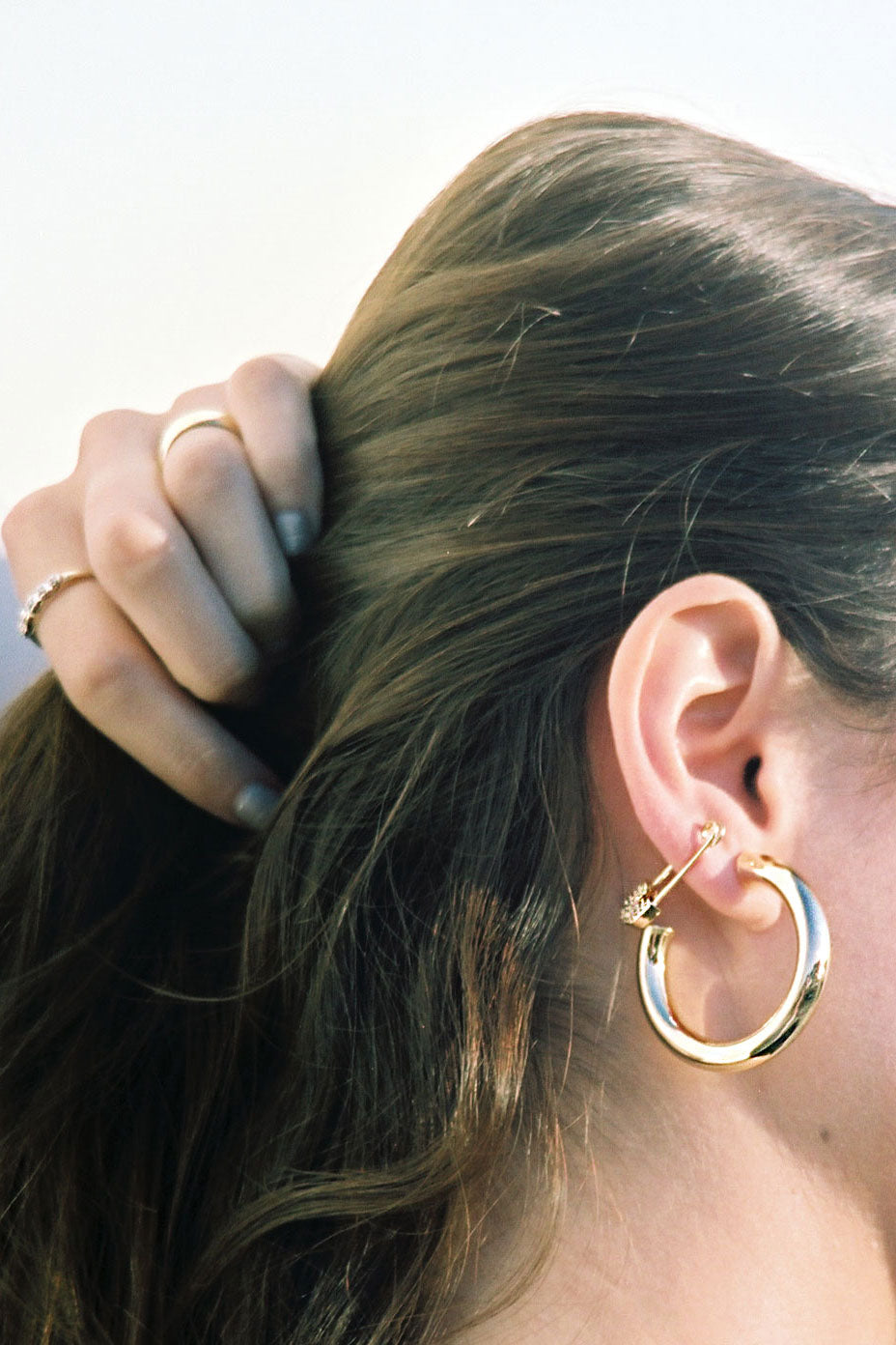 Bella Earrings Gold Plated Safety Pins