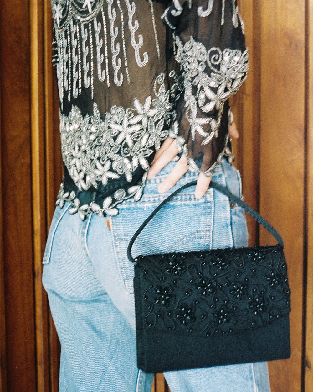 Vintage Black Beaded Floral Purse