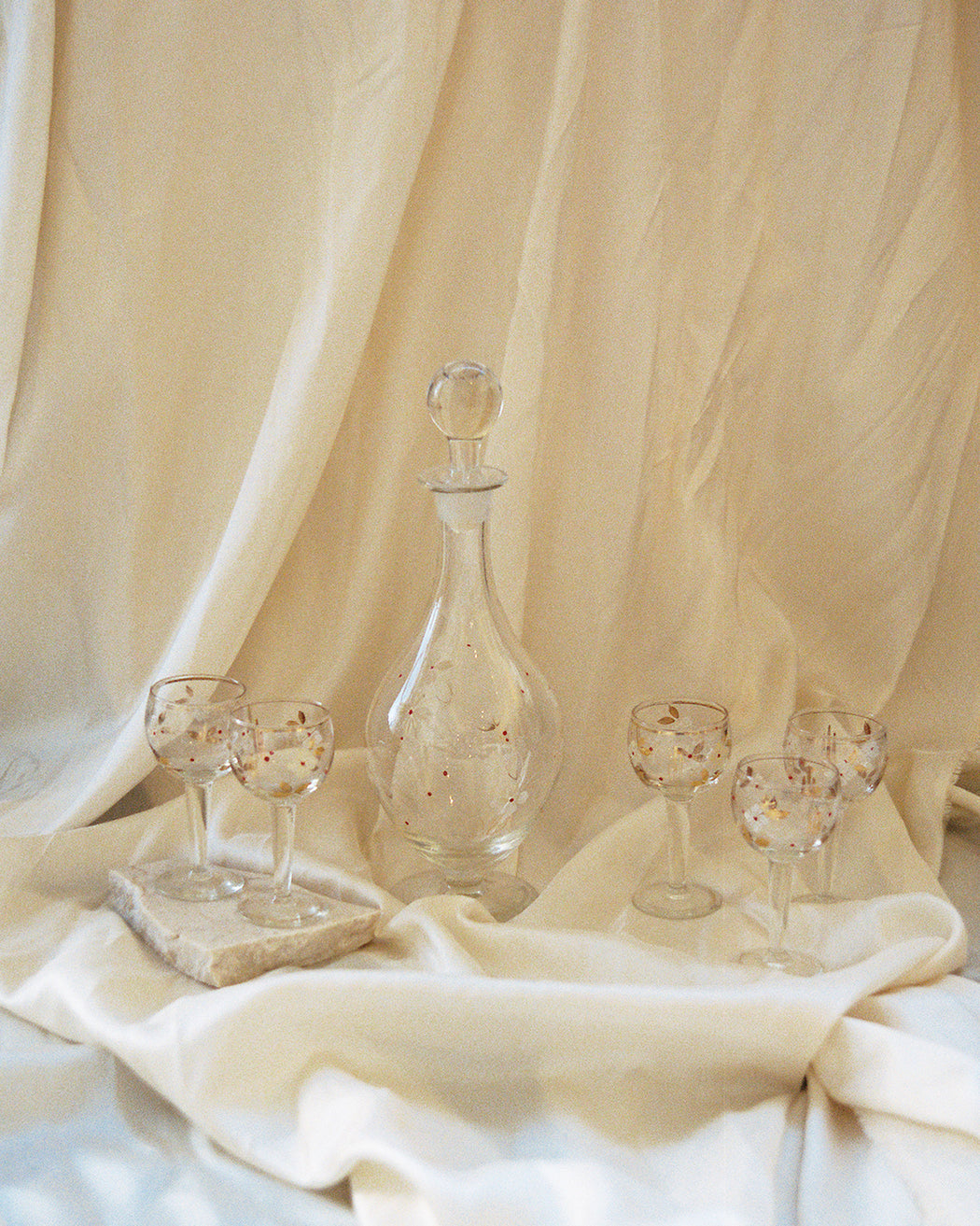 Vintage Painted Glass Decanter and Small Apertif Glasses