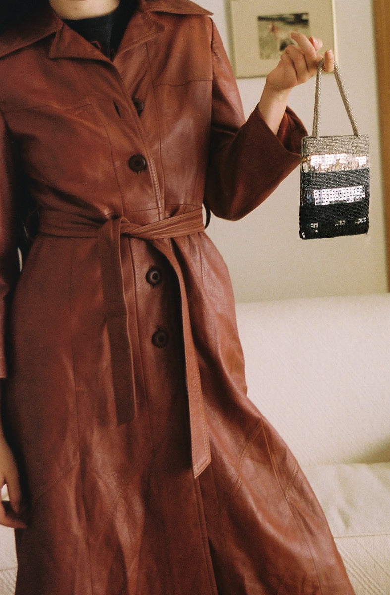 Vintage Amber Brown Leather Trench Coat Xs-Small