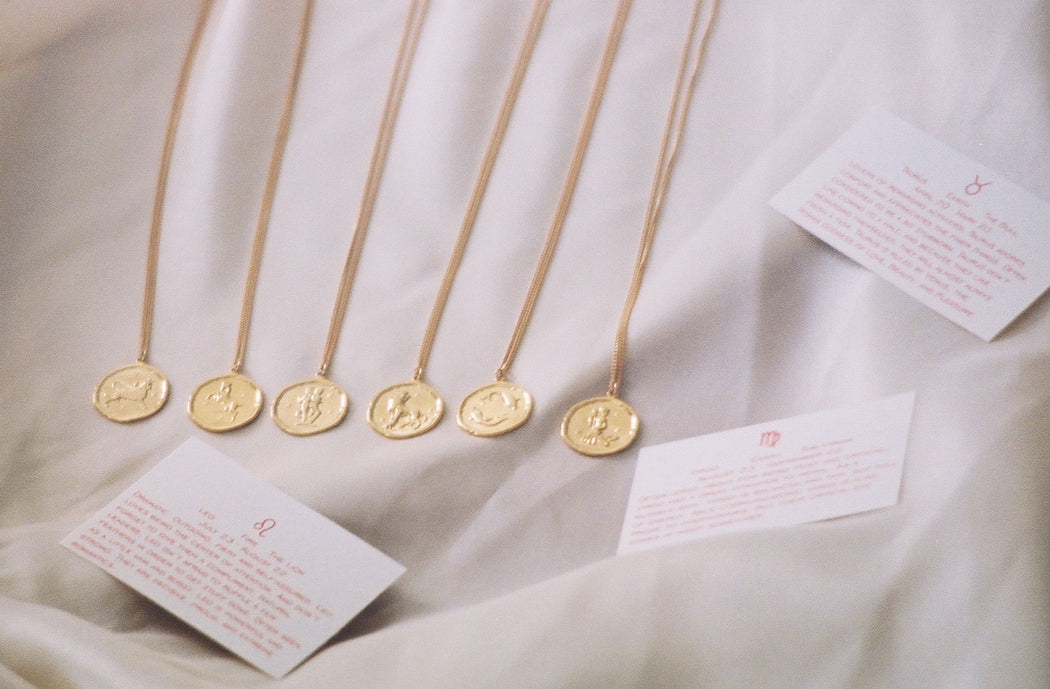 Zodiac Coin Necklace Gold Plated