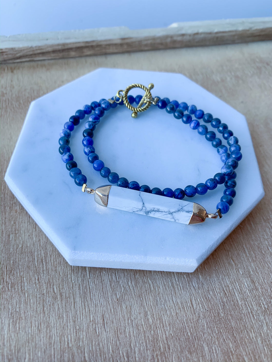 Beaded Lapis Wrap Bracelet with  Howlite Bar