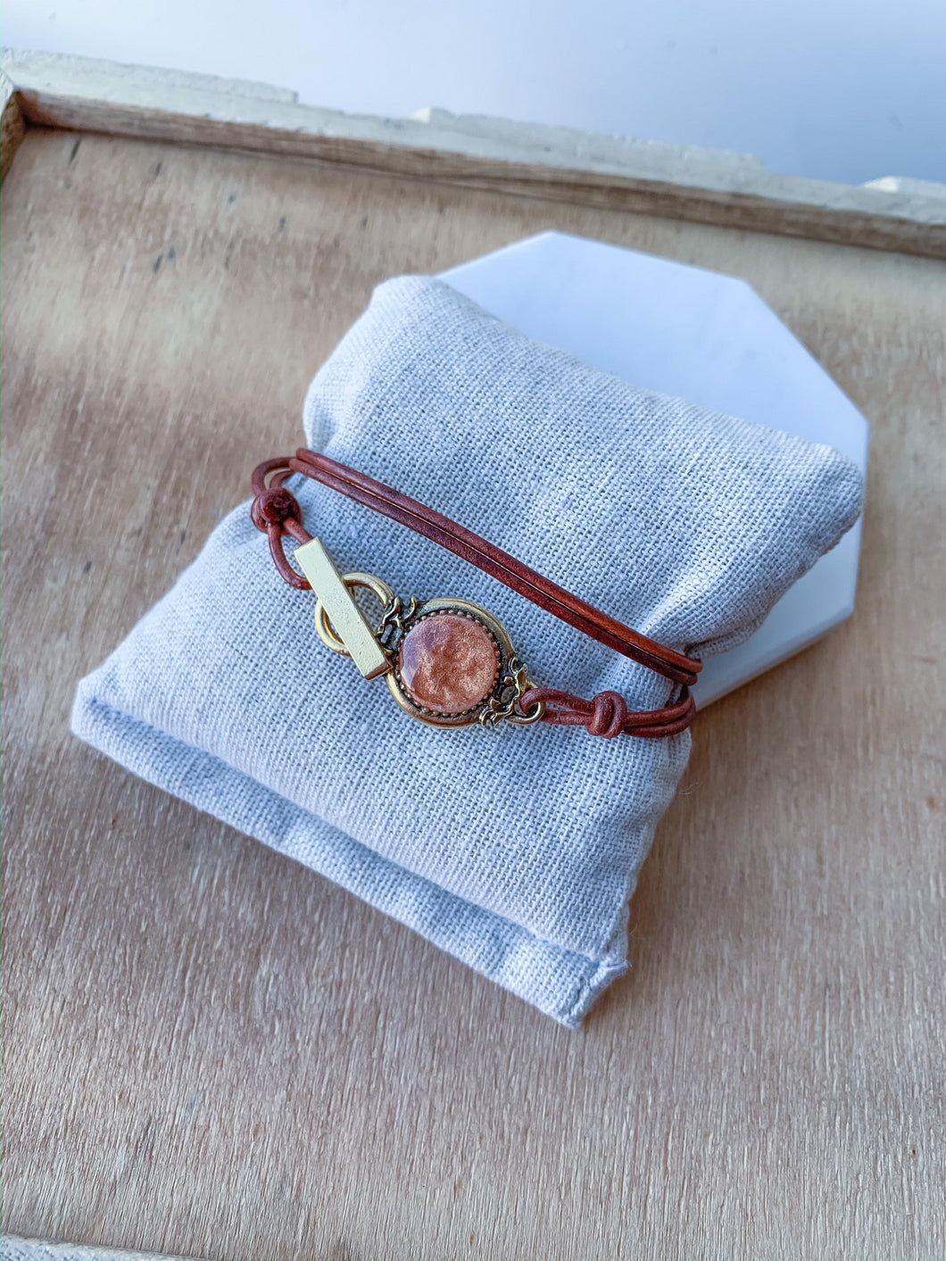 Leather and Gold Charm Wrap Bracelet