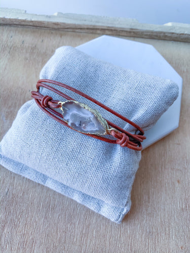 Leather and Geode Wrap Bracelet