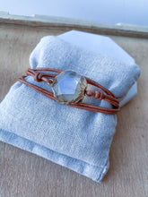 Leather and Amber Crystal Wrap Bracelet