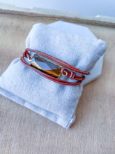 Leather and Tigers Eye Wrap Bracelet