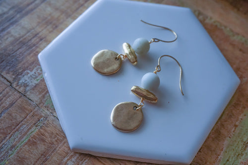 Round Amazonite and Gold Dangle Earrings