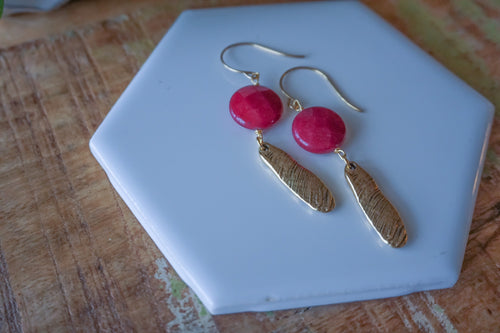 Fuschia Colored Jade Earrings