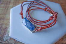 Lapis and Leather Wrap Bracelet