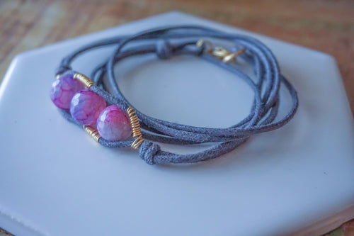 Wire Wrapped Agate Bracelet
