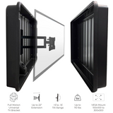 Black tv cover with tv mount. Our Storm Shell outdoor tv enclosure can hold up to 110 lbs. The Tv mount on the inside can extend up to 22 inches and has a full motion universal tv bracket on the inside great for watching tv at any angle.