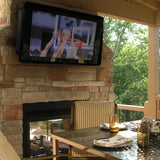 TV cover outdoors under patio: Weather proof TV cover under a patio covering open with tv on.