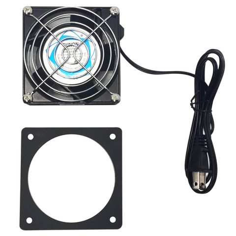 Storm Shell TV cover exhaust fan with power cord and mounting plate.