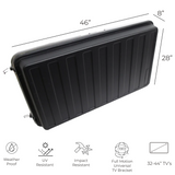Black TV Cover: This tv cover is weather proof, UV Resistant, Impact resistant, and tamper proof with lockable latches.