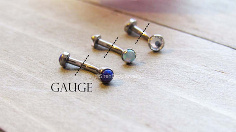 Dotted lines indicated how to measure the gauge of your body jewelry