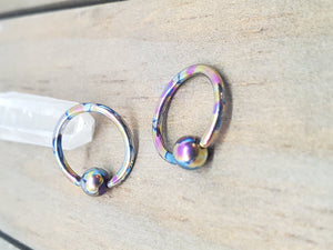 "14g Titanium captive bead ring 1/4""-3/4"" hypoallergenic pick your color conch septum daith lip nipple ring hoop - SirenBodyJewelry"