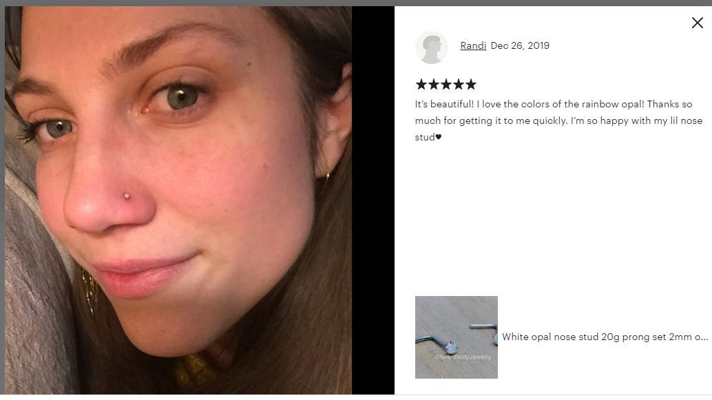 Opal Rose Gold Nose Ring Nose Piercing White Opal L Bend Nose Ring