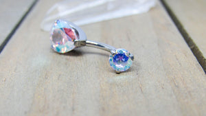 "Titanium belly ring 14g 3/8"" pear aurora borealis gemstone internally threaded hypoallergenic pick your anodized color"