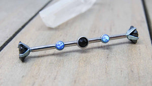 "Custom titanium industrial piercing barbell 14g 1 1/4""-1 1/2"" length internally threaded hypoallergenic scaffold bar blue opal black gem - SirenBodyJewelry"