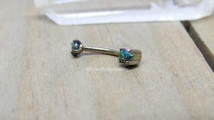 "Daith piercing barbell 16g black opal curved bar vertical labret body jewelry titanium 5/16"" - SirenBodyJewelry"