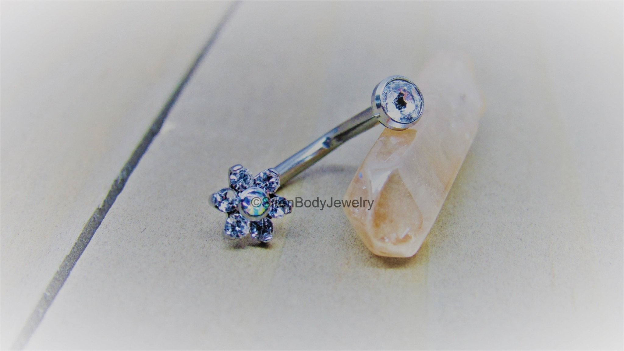 Clear Prong Set Star Gem with Italian Flag Dangle Belly Button Ring Navel Body Piercing Jewelry