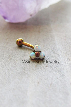 Opal rook earring 16g titanium vertical labret curved barbell white opals cluster internally threaded pick your color - SirenBodyJewelry