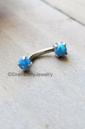 Rook piercing jewelry 16g blue opal daith earring barbell titanium vertical labret body piercing ring anti eyebrow stud 16g curved bar rings - SirenBodyJewelry