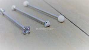 Titanium industrial piercing barbell 14g internally threaded gem or opal pick your version - SirenBodyJewelry