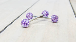 "Titanium nipple piercing barbells 14g 5/8"" glitter ball purple pink or clear 6mm external pair - SirenBodyJewelry"