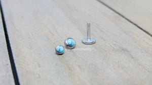 "Turquoise flat back earrings 16g titanium high polish 1/4"" or 5/16"" length 3mm or 4mm bezel set synthetic turquoise ear lip conch helix stud - SirenBodyJewelry"