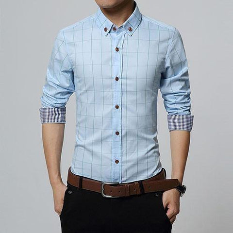 Checkered Slim Fit Long Sleeve Plain Shirt - Bachelor Hut