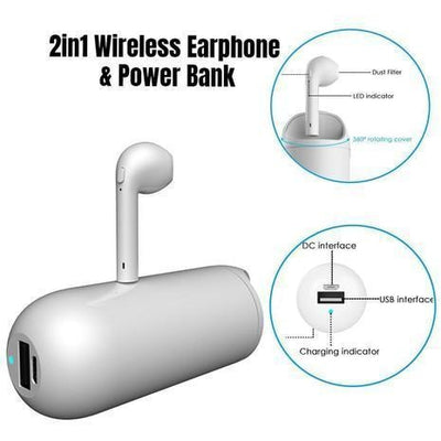 2 In 1 Wireless Earphone and Power Bank -  Electronics - BuyShopDeals