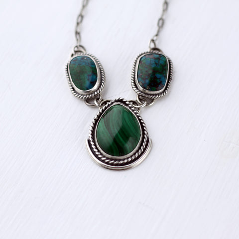 80 Smith Jewelry - Malachite with Chrysocolla in Sterling Silver