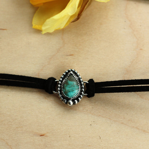 80 Smith Jewelry - Zinnia Choker with Hubei Turquoise set in Sterling Silver