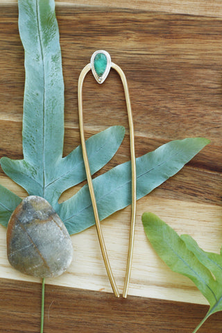 80 Smith Jewelry - Laurel Hair Pin with Damele Turquoise set in Sterling Silver on a Brass Pin