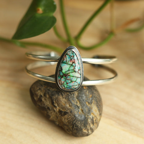 80 Smith Jewelry - Phlox Cuff with Monarch Opal set in Sterling Silver