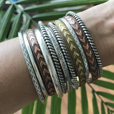 80 Smith Jewelry - Stacking of cuffs in Sterling Silver, Brass, and Copper