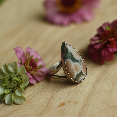 Dew Drop Ring with Ocean Jasper