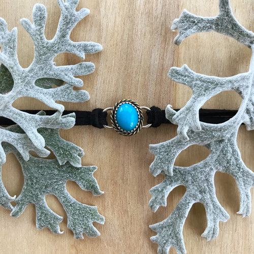 Zinnia Choker in Turquoise with Brass