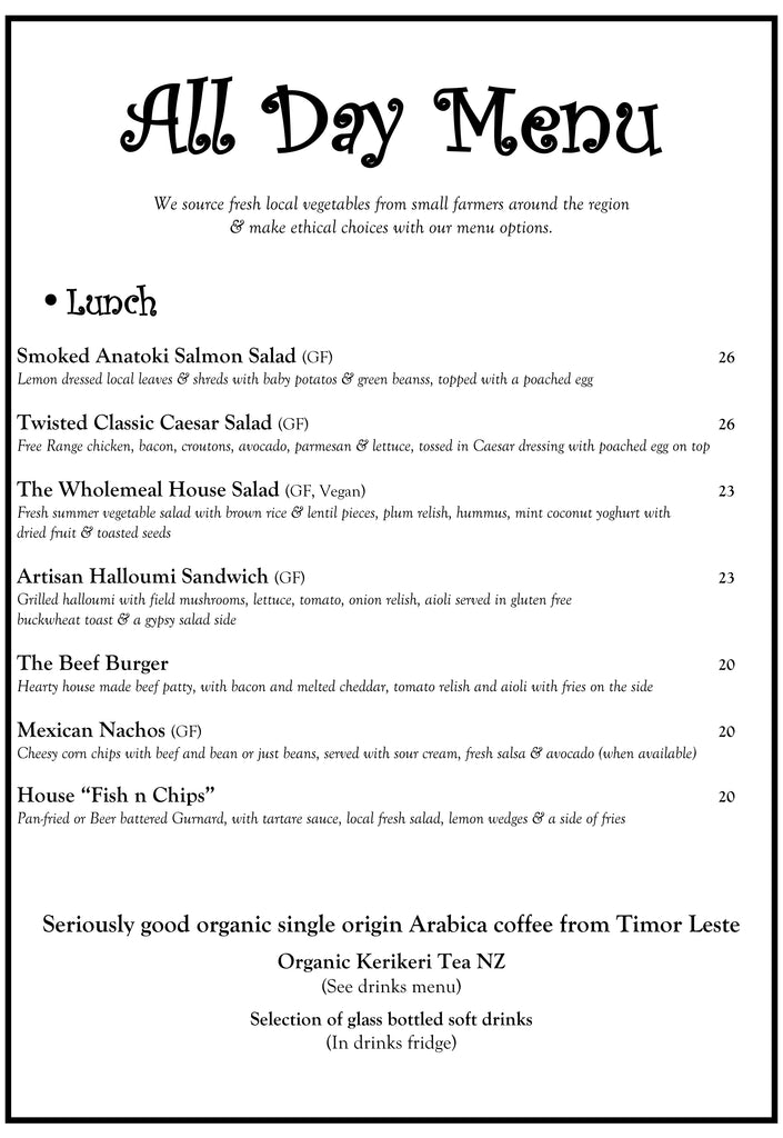 The Wholemeal Cafe Lunch Menu December 2018