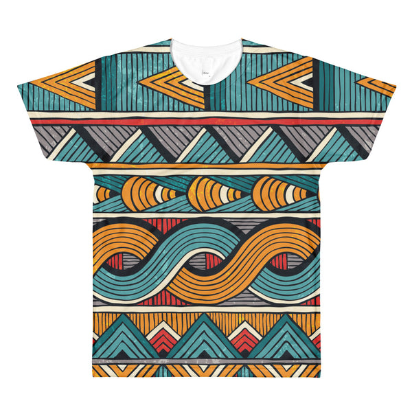 Ankara themed African Sublimation men's crewneck t-shirt