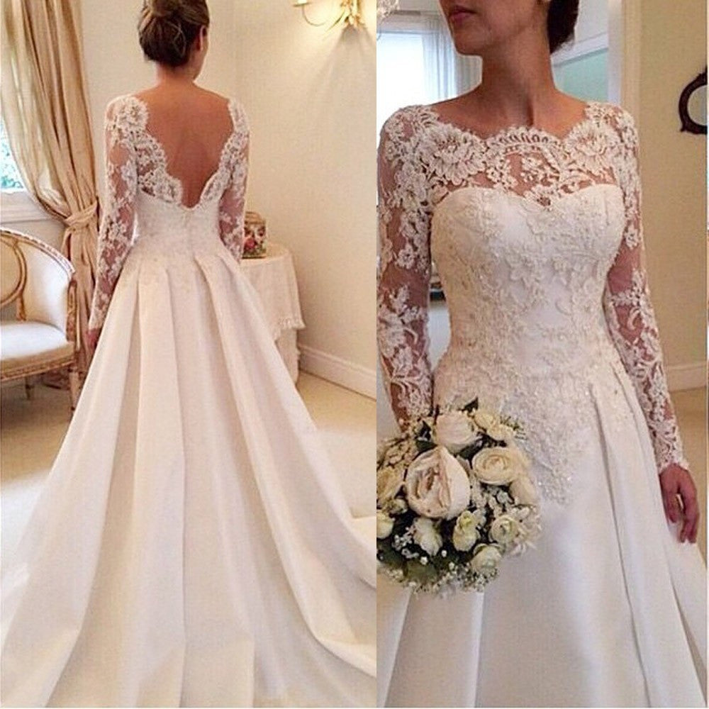 2017 Elegant Vestido De Renda Lace Long Sleeves Wedding Dress Open Back A Line Plus Size Satin Skirt Bridal Gowns Fast Delivery
