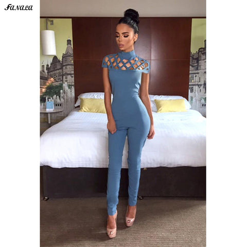 FANALA Women Jumpsuit Hallow Out Design 2017 New Jumpsuit Romper Sleeveless Slim Long Rompers Womens Jumpsuit Summer Spring